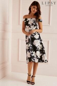 50951612474 Lipsy Floral Bardot Skater Dress