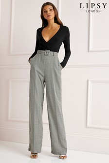 Lipsy Dogtooth 2 in 1 Belt Jumpsuit