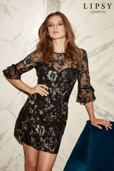 Lipsy Embroidered Long Sleeve Shift Dress