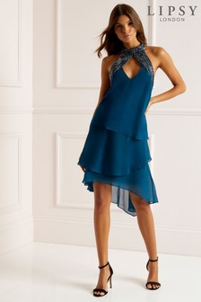 Lipsy Embelished Assymetric Hem Swing Dress