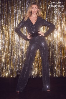 Abbey Clancy x Lipsy Glitter Sequin Jumpsuit