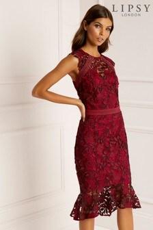 Lipsy Tall Flute Hem All Over Lace Midi Dress