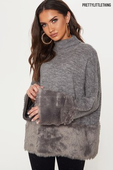 PrettyLittleThing Fur Trim Oversized Jumper