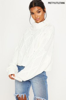 PrettyLittleThing Cable Roll Neck Crop Jumper