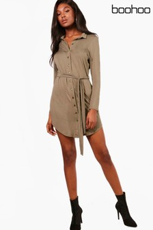 Boohoo Button Through Collar Shirt Dress