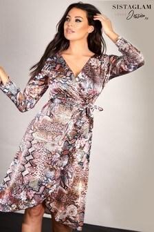 Sistaglam Loves Jessica Snake Print Frill Wrap Dress