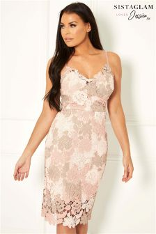 Sistaglam Loves Jessica Lace Crochet Bodycon Dress