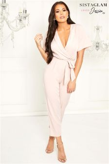 Sistaglam Loves Jessica Tie Belt Tailored Wrap Jumpsuit