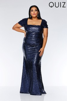 Quiz Curve Sequin Cap Sleeve Fishtail Maxi Dress