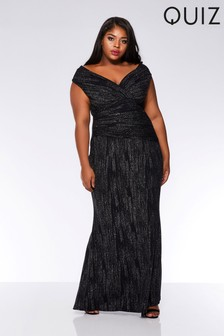 Quiz Curve Glitter Scuba Crepe Bardot Wrap Front Fishtail Maxi Dress