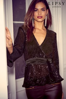 Lipsy Sequin Wrap Top