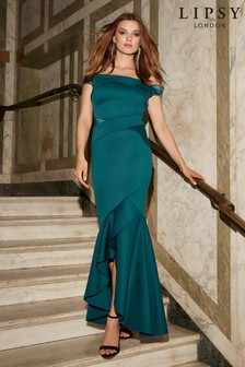 Lipsy Petite Satin Panel Bardot Fishtail Maxi Dress