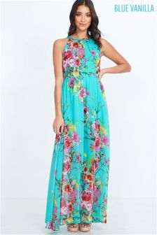 Blue Vanilla Floral Print Maxi Dress