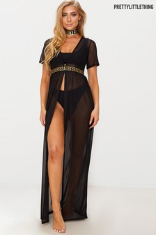 PrettyLittleThing Greek Key Waist Mesh Beach Dress