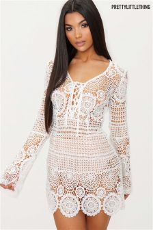PrettyLittleThing Tie Front Flare Sleeve Crochet Lace Shift Dress