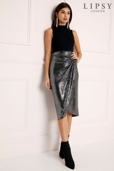 Lipsy Metallic Knot Midi Skirt