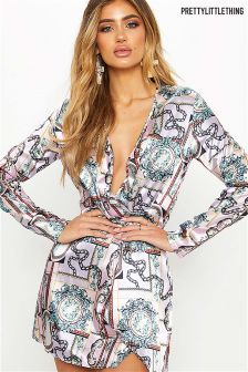 PrettyLittleThing Scarf Print Twist Front Dress