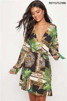 PrettyLittleThing Printed Wrap Long Sleeve Dress