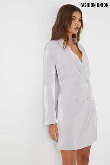 Fashion Union Metalic Blazer Dress
