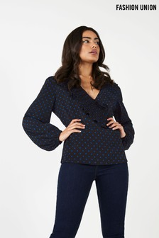 Fashion Union Spot Wrap Blouse
