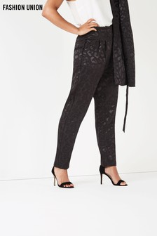 Fashion Union Jacquard High Waist Trousers