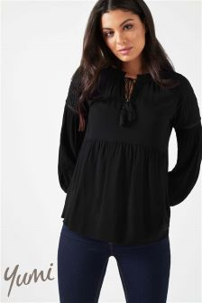 Yumi Lace Shoulder Peasant Blouse