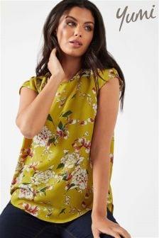 Yumi Split Back Floral Print Top