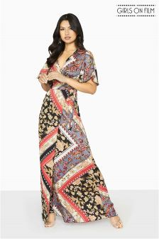 Girls On Film Scarf Print Maxi Dress