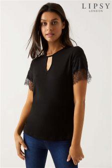 Lipsy Keyhole Lace Trim T-Shirt