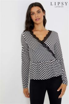 Lipsy Stripe Lace Wrap Top