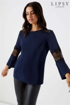 Lipsy Lace Mix Flute Sleeve Top
