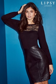Lipsy Lace Detail Faux Leather 2-In-1 Dress