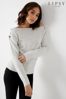 Lipsy Button Off The Shoulder Jumper