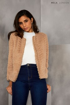 Mela London Zip Up Faux Fur Jacket