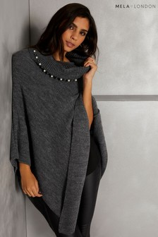 Mela London Pearl Embellished Poncho
