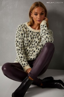 Mela London Metallic Leopard Print Eyelash Jumper