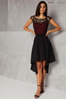 Mela London Lace Contrast High Low Dress
