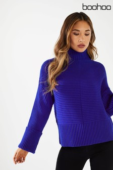 Boohoo Turn Back Sleeve Ribbed Jumper