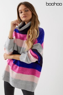 Boohoo Oversized Roll Neck Coloured Stripe Jumper