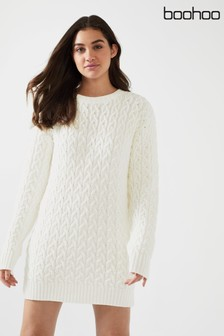 Boohoo Cable Detail Jumper Dress
