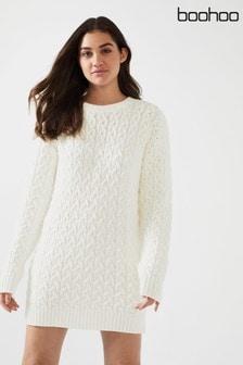 שמלת סוודר בסריגת צמות של Boohoo