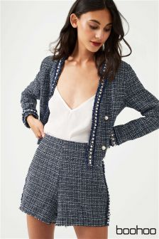 Boohoo Pearl Trim Crop Jacket