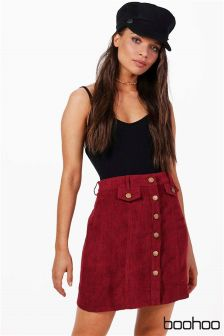 Boohoo Button Front Chunky Cord Mini Skirt