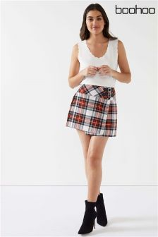 Boohoo Check Kilt Skirt