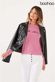 Boohoo Slogan Stripe Top