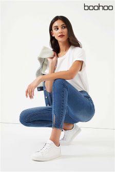 Boohoo Skinny-Jeans mit geschlitztem Saum
