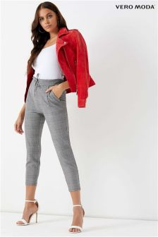 Vero Moda Petite Loose String Checked Pants