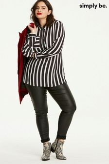 Simply Be Stripe Zip Front Shirt