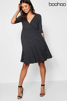 Boohoo Maternity Polka Dot Wrap Smock Dress