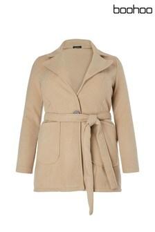 Boohoo Plus Belted Coat